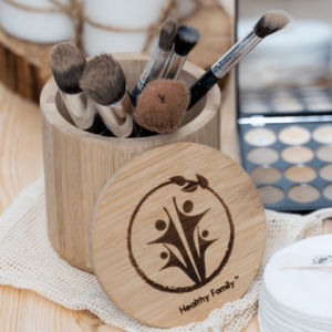 Bamboo storage jar. Makeup organiser